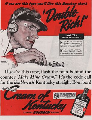 ORIG VINTAGE MAGAZINE AD/ 1939 CREAM OF KENTUCKY WHISKEY ADillustrator- Norman  Rockwell - Product Image