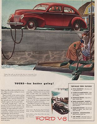 ORIG VINTAGE MAGAZINE AD/ 1939 FORD V-8 CAR ADillustrator- James  Williamson - Product Image