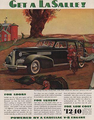 ORIG VINTAGE MAGAZINE AD/ 1939 LA SALLE CAR ADillustrator- Fred  Freeman - Product Image