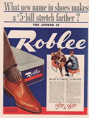 ORIG VINTAGE MAGAZINE AD/ 1939 ROBLEE MEN'S SHOE ADillustrator- N/A - Product Image