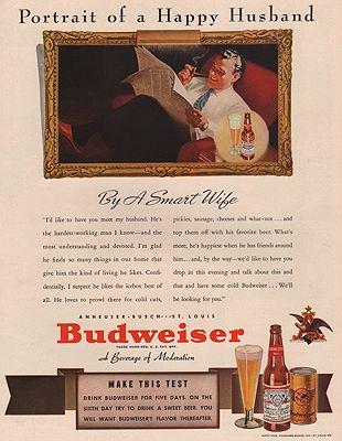 ORIG VINTAGE MAGAZINE AD/ 1940 BUDWEISER BEER ADillustrator- N/A - Product Image