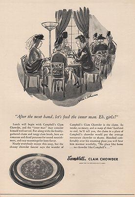 ORIG VINTAGE MAGAZINE AD/ 1940 CAMPBELL'S CLAM CHOWDER ADillustrator- Helen  Hokinson - Product Image