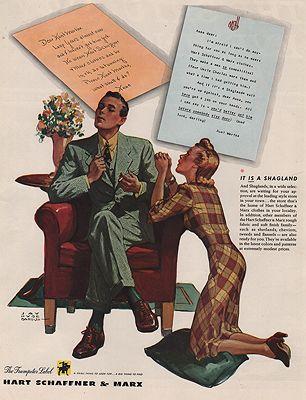 ORIG VINTAGE MAGAZINE AD/ 1940 HART SCHAFFNER & MARX ADillustrator- Jay Hyde  Barnum - Product Image