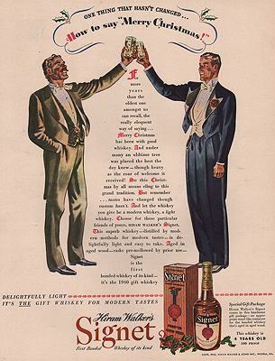 ORIG VINTAGE MAGAZINE AD/ 1940 HIRAM WALKER'S SIGNET WHISKEY ADillustrator- Leslie  Saalburg - Product Image