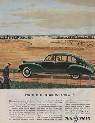 ORIG VINTAGE MAGAZINE AD/ 1940 LINCOLN-ZEPHYR CAR ADillustrator- James  Williamson - Product Image