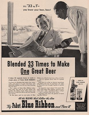 ORIG VINTAGE MAGAZINE AD/ 1940 PABST BLUE RIBBON BEER ADillustrator- N/A - Product Image