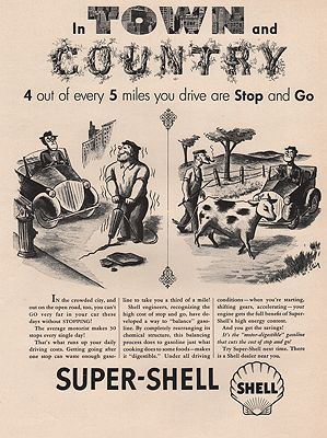 ORIG VINTAGE MAGAZINE AD/ 1940s SHELL GASOLINE ADillustrator- William  Steig - Product Image