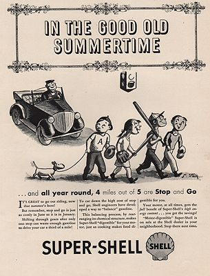 ORIG VINTAGE MAGAZINE AD/ 1940s SHELL GASOLINE ADillustrator- William  Steig - Product Image