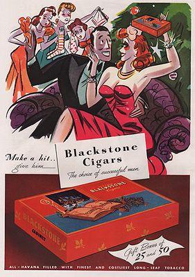ORIG. VINTAGE MAGAZINE AD: 1941 BLACKSTONE CIGARS ADillustrator- Herbert  Roese - Product Image