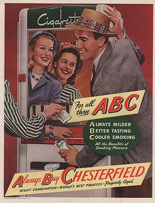 ORIG VINTAGE MAGAZINE AD/ 1941 CHESTERFIELD CIGARETTES ADillustrator- N/A - Product Image