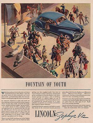 ORIG VINTAGE MAGAZINE AD/ 1941 LINCOLN ZEPHYR V-12 CAR ADillustrator- N/A - Product Image