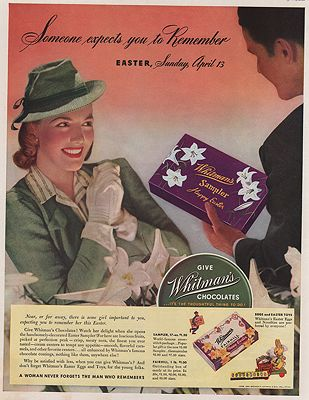ORIG. VINTAGE MAGAZINE AD: 1941 WHITMAN CHOCOLATES ADillustrator- N/A - Product Image