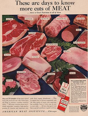 ORIG VINTAGE MAGAZINE AD/ 1942 AMERICAN MEAT INSTITUTE ADillustrator- N/A - Product Image