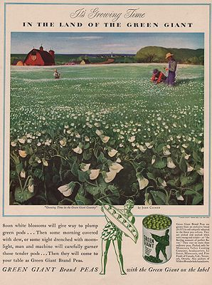ORIG VINTAGE MAGAZINE AD/ 1942 GREEN GIANT PEAS ADillustrator- John  Clymer - Product Image