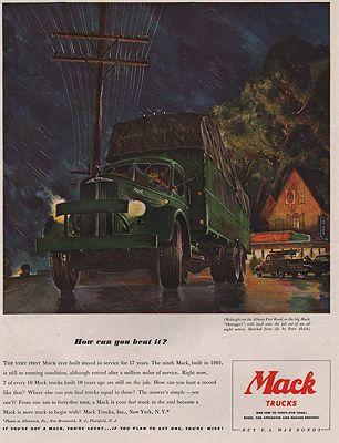 ORIG VINTAGE MAGAZINE AD/ 1942 MACK TRUCK ADillustrator- Peter  Helck - Product Image