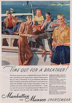 ORIG VINTAGE MAGAZINE AD /1942 MANHATTAN SPORTSWEAR ADN/A - Product Image