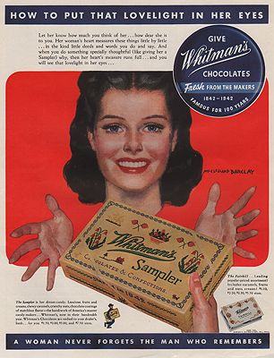 ORIG VINTAGE MAGAZINE AD/ 1942 WHITMAN'S CHOCOLATES ADillustrator- McClelland  Barclay - Product Image