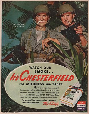 ORIG VINTAGE MAGAZINE AD/ 1943 CHESTERFIELD CIGARETTES ADillustrator- N/A - Product Image