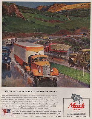 ORIG VINTAGE MAGAZINE AD/ 1943 MACK TRUCK ADillustrator- Peter  Helck - Product Image