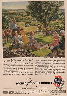 ORIG VINTAGE MAGAZINE AD/ 1943 PACIFIC FACTAG FABRICSillustrator- Peter  Helck - Product Image