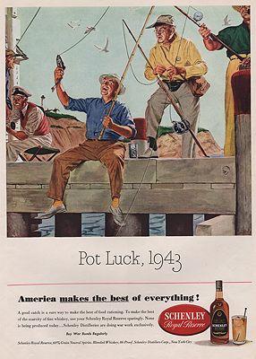 ORIG VINTAGE MAGAZINE AD/ 1943 SCHENLEY WHISKEY ADillustrator- Floyd  Davis - Product Image