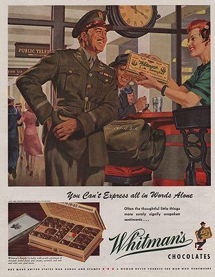 ORIG VINTAGE MAGAZINE AD/ 1943 WHITMANS CHOCOLATES ADillustrator- Ray  Prohaska - Product Image