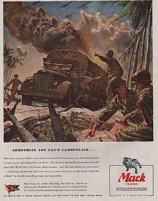 ORIG VINTAGE MAGAZINE AD/ 1944 MACK TRUCK ADillustrator- Peter  Helck - Product Image
