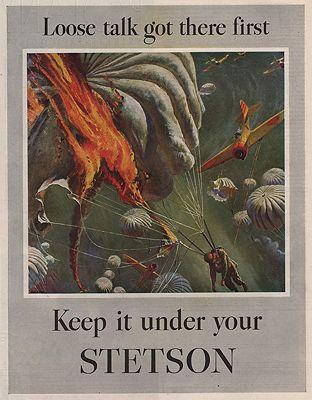 ORIG VINTAGE MAGAZINE AD/ 1944 STETSON HAT ADillustrator- Peter  Helck - Product Image
