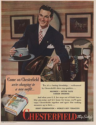 ORIG VINTAGE MAGAZINE AD/ 1945 CHESTERFIELD CIGARETTES ADillustrator- N/A - Product Image