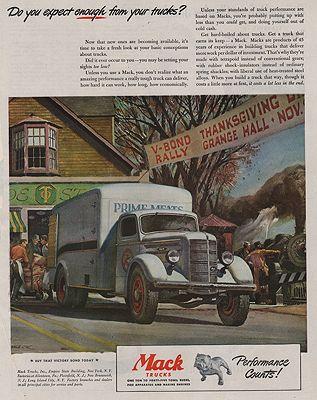 ORIG VINTAGE MAGAZINE AD/ 1945 MACK TRUCK ADillustrator- Peter  Helck - Product Image