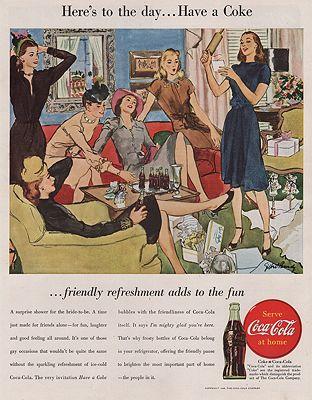 ORIG VINTAGE MAGAZINE AD/ 1946 COCA-COLA ADillustrator- Gilbert  Bundy - Product Image