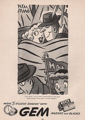 ORIG VINTAGE MAGAZINE AD/ 1946 GEM RAZOR BLADE ADillustrator- Peter  Arno - Product Image