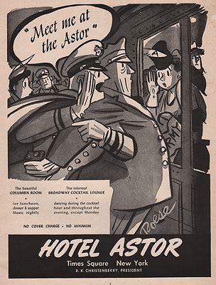ORIG VINTAGE MAGAZINE AD/ 1946 HOTEL ASTOR ADillustrator- Herbert  Roese - Product Image