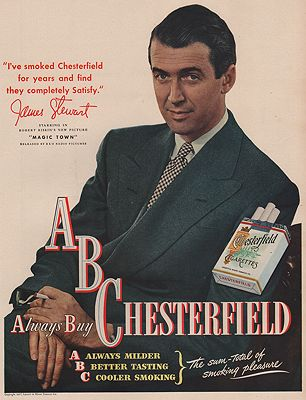 ORIG VINTAGE MAGAZINE AD/ 1947 CHESTERFIELD CIGARETTE ADillustrator- N/A - Product Image