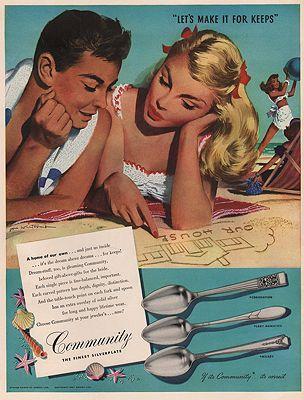 ORIG VINTAGE MAGAZINE AD/ 1947 COMMUNITY SILVERPLATE ADillustrator- Jon  Whitcomb - Product Image