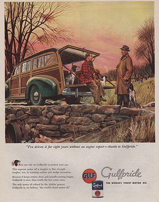 ORIG VINTAGE MAGAZINE AD/ 1947 GULFPRIDE MOTOR OIL ADillustrator- James  Bingham - Product Image