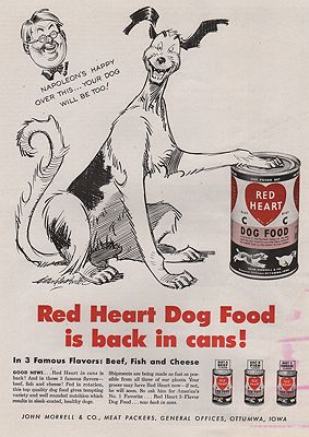 ORIG VINTAGE MAGAZINE AD/ 1947 RED HEART DOG FOOD ADillustrator- Clifford  McBride - Product Image