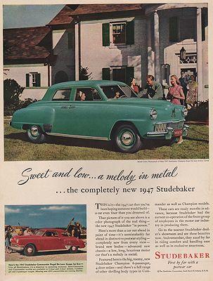 ORIG VINTAGE MAGAZINE AD/ 1947 STUDEBAKER CAR ADillustrator- N/A - Product Image