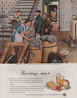 ORIG VINTAGE MAGAZINE AD/ 1947 U.S. BEER BREWERS ADillustrator- Stevan  Dohanos - Product Image