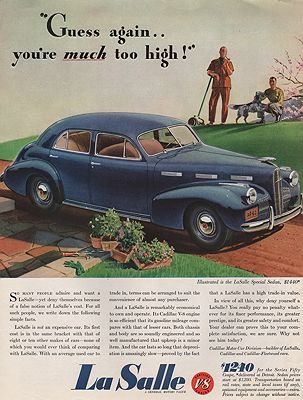 ORIG VINTAGE MAGAZINE AD/ 1949 LA SALLE CAR ADillustrator- N/A - Product Image