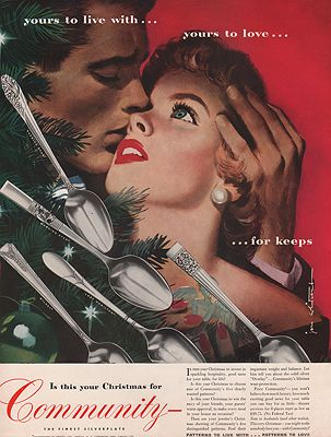 ORIG VINTAGE MAGAZINE AD/ 1950 COMMUNITY SILVERWARE ADillustrator- Jon  Whitcomb - Product Image