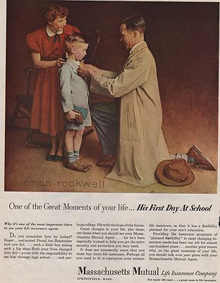 ORIG VINTAGE MAGAZINE AD/ 1950 MASSACHUSETTS MUTUAL INSURANCE CO.illustrator- Norman  Rockwell - Product Image