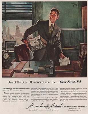 ORIG VINTAGE MAGAZINE AD/ 1951 MASSACHUSETTS MUTUAL LIFE INSURANCE CO. ADillustrator- C.C.  Beall - Product Image