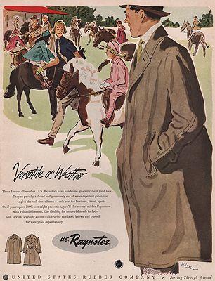ORIG VINTAGE MAGAZINE AD/ 1951 RAYNSTER RAINCOAT ADillustrator- N/A - Product Image