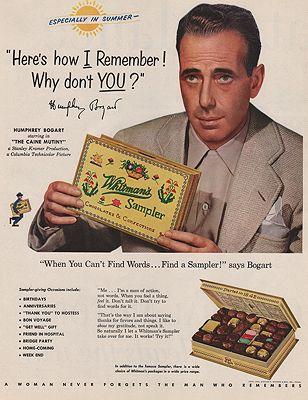 ORIG VINTAGE MAGAZINE AD/ 1954 WHITMAN'S SAMPLER ADillustrator- N/A - Product Image