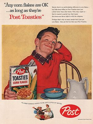 ORIG VINTAGE MAGAZINE AD/ 1957 POST TOASTIES CEREAL ADillustrator- Dick  Sargent - Product Image
