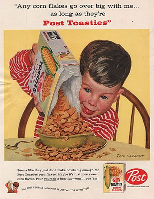 ORIG VINTAGE MAGAZINE AD/ 1958 POST BRAN FLAKES CEREAL ADillustrator- Dick  Sargent - Product Image