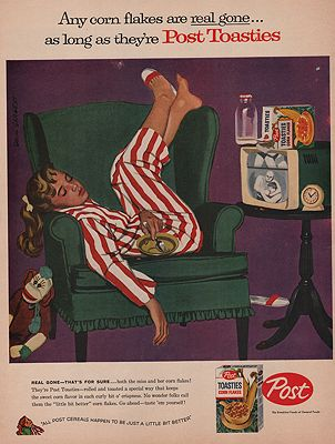 ORIG VINTAGE MAGAZINE AD/ 1958 POST TOASTIES CEREAL ADillustrator- Dick  Sargent - Product Image