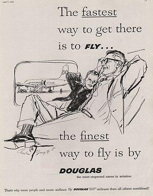 ORIG VINTAGE MAGAZINE AD/ 1959 DOUGLAS AIRCRAFT CO. ADillustrator- Austin  Briggs - Product Image