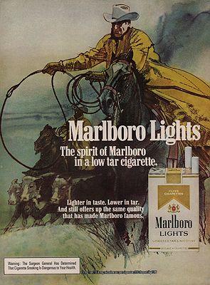 ORIG. VINTAGE MAGAZINE AD: 1976 MARLBORO LIGHTS CIGARETTE ADillustrator- Bob  Peak - Product Image